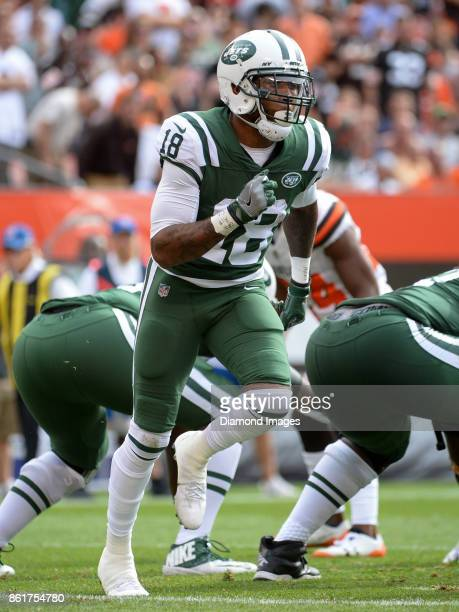 Wide receiver ArDarius Stewart of the New York Jets runs in motion behind the line of scrimmage in the fourth quarter of a game on October 8 2017...