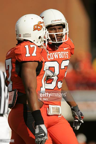 Wide receiver Artrell Woods of the Oklahoma State Cowboys talks during a game against the Oklahoma Sooners on November 25 2006 at Boone Pickens...