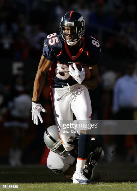 Wide receiver Ashley Lelie of the Denver Broncos gains 18 yards on a catch against cornerback Stanford Routt of the Oakland Raiders in the first...