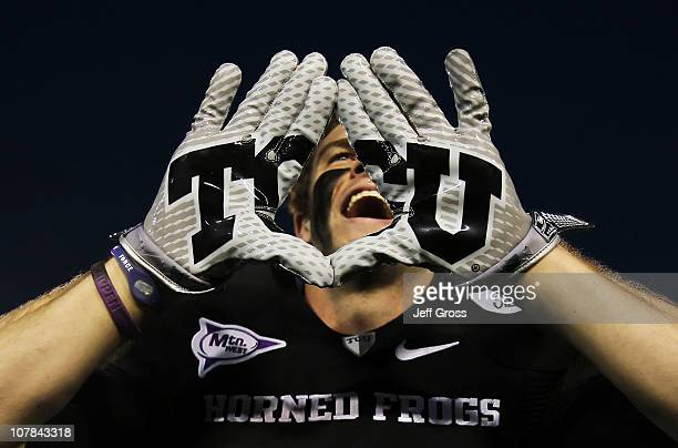 Wide receiver Bart Johnson of the TCU Horned Frogs celebrates after defeating the Wisconsin Badgers 21-19 in the 97th Rose Bowl game on January 1,...