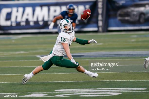 Wide receiver Beau Kelly of the Portland State Vikings misses a pass during the second quarter of tonights game between the Nevada Wolf Pack and the...