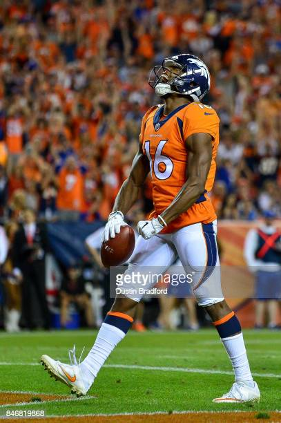 Wide receiver Bennie Fowler of the Denver Broncos celebrates a touchdown in the third quarter of the game against the Los Angeles Chargers at Sports...