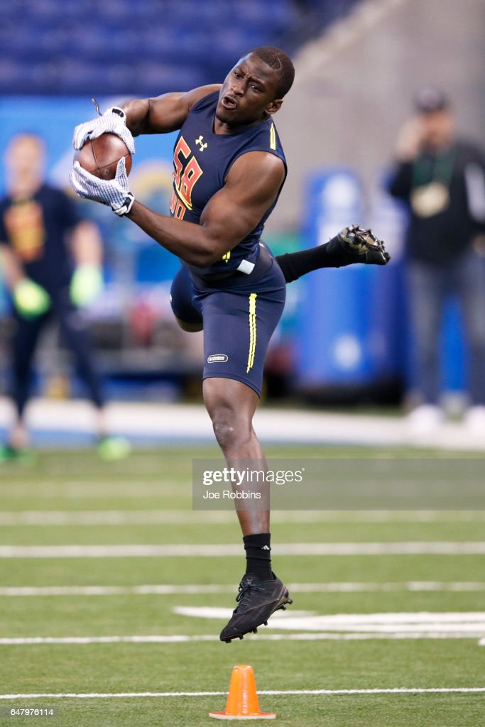 Wide receiver Bobo Wilson of Florida State jumps to catch a pass during day four of the NFL Combine at Lucas Oil Stadium on March 4, 2017 in Indianapolis, Indiana.