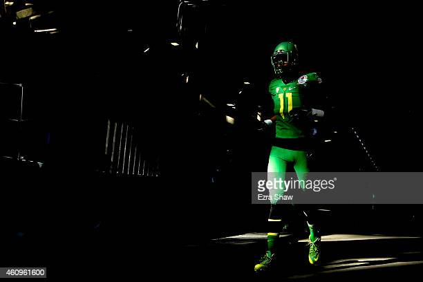 Wide receiver Bralon Addison of the Oregon Ducks walks in the tunnel prior to the College Football Playoff Semifinal at the Rose Bowl Game presented...