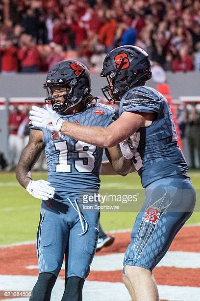 Wide receiver Bra'Lon Cherry of the North Carolina State Wolfpack celebration after a touchdown Final score Florida State Seminoles 24 and NC State...