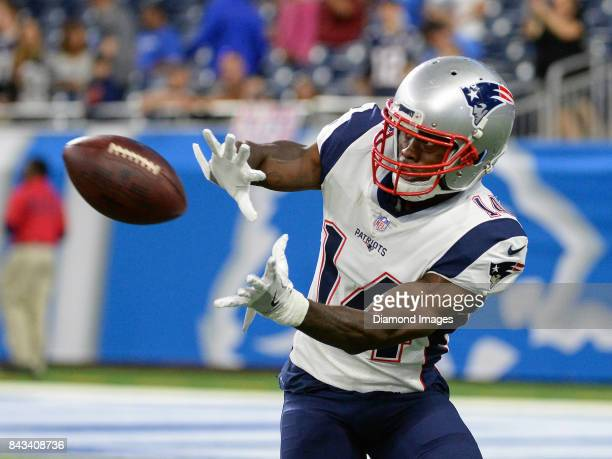 Wide receiver Brandin Cooks of the New England Patriots catches a pass prior to a preseason game on August 25 2017 against the Detroit Lions at Ford...