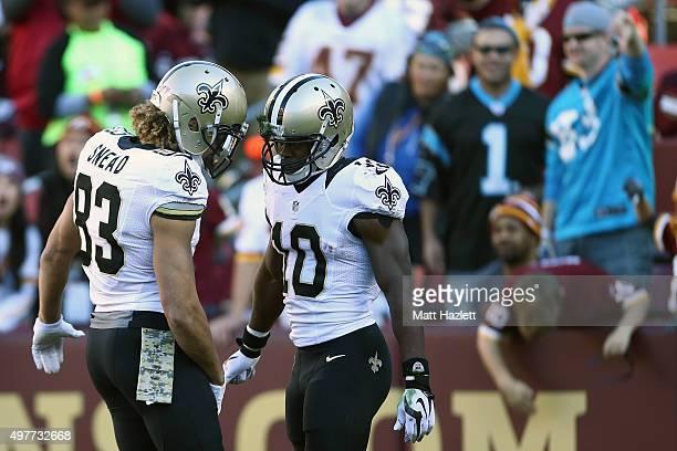 Wide receiver Brandin Cooks of the New Orleans Saints celebrates a second quarter touchdown with wide receiver Willie Snead of the New Orleans Saints...