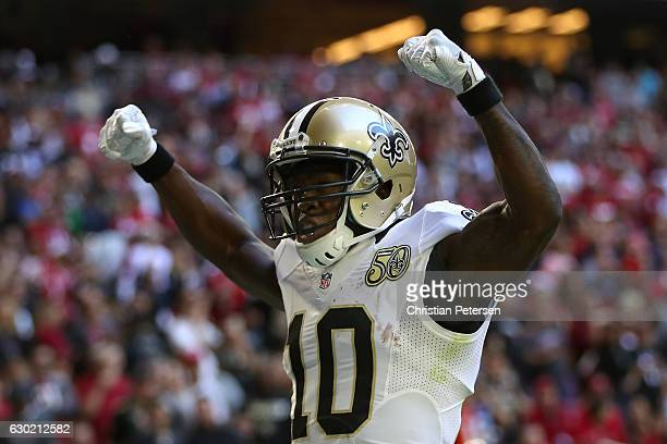 Wide receiver Brandin Cooks of the New Orleans Saints celebrates after scoring on a 45 yard touchdown reception against the Arizona Cardinals during...
