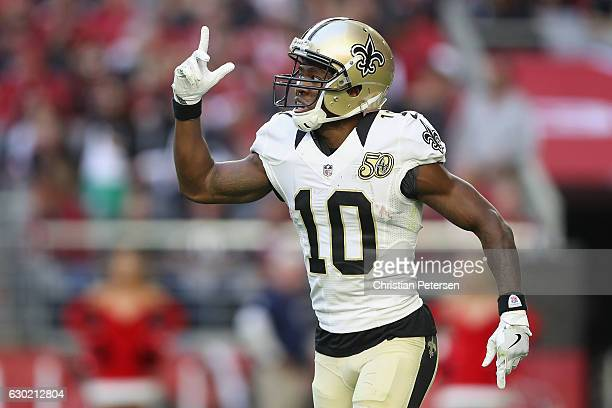 Wide receiver Brandin Cooks of the New Orleans Saints reacts after scoring a 65 yard touchdown reception in the second quarter against the Arizona...