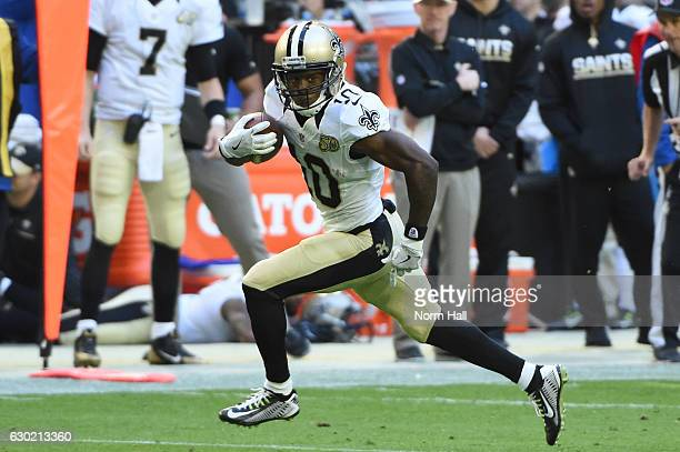 Wide receiver Brandin Cooks of the New Orleans Saints runs with the football in the first half of the NFL game against the Arizona Cardinals at...