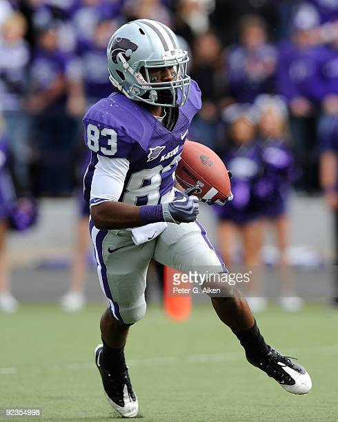 Wide receiver Brandon Banks of the Kansas State Wildcats returns a kickoff during a game against the Colorado Buffaloes on October 24 2009 at Bill...