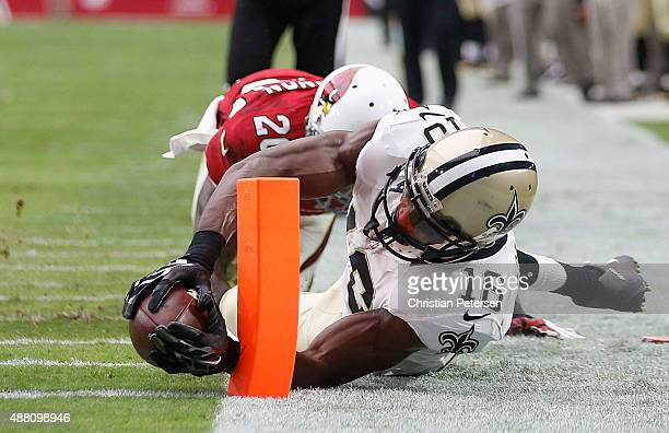 Wide receiver Brandon Coleman of the New Orleans Saints stretches for the end zone on a 12 yard touchdown during the second quarter of the NFL game...