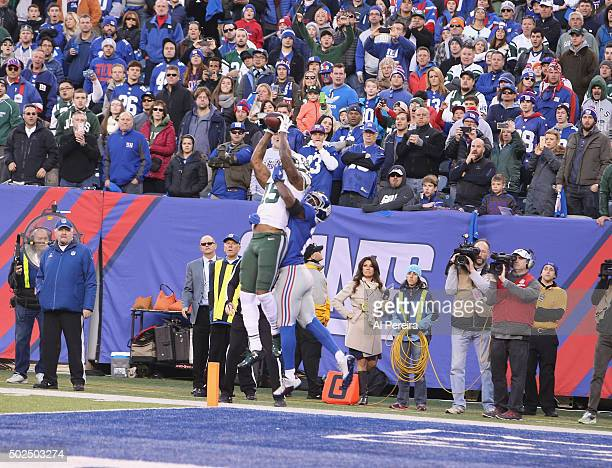 Wide Receiver Brandon Marshall of the New York Jets has a Touchdown against the New York Giants at MetLife Stadium on December 6 2015 in East...