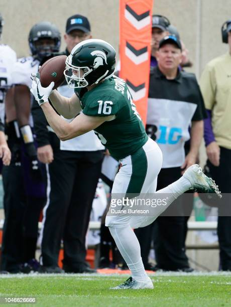 Wide receiver Brandon Sowards of the Michigan State Spartans makes a first down reception against the Northwestern Wildcats during the first half at...