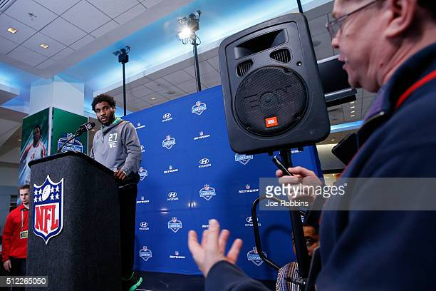 Wide receiver Braxton Miller of Ohio State answers a question from the media during the 2016 NFL Scouting Combine at Lucas Oil Stadium on February 25...