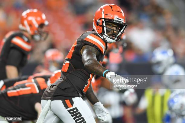 Wide receiver Braxton Miller of the Cleveland Browns looks toward the sideline in the second quarter of a preseason game against the Detroit Lions on...