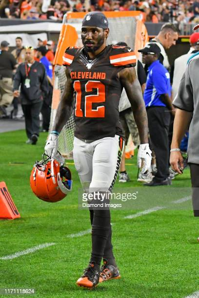 Wide receiver Braxton Miller of the Cleveland Browns walks off the field in the second quarter of a preseason game against the Detroit Lions on...