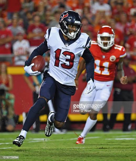 Wide receiver Braxton Miller of the Houston Texans returns a kickoff during the second half against the Kansas City Chiefs at Arrowhead Stadium on...