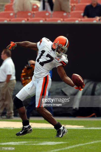 Wide receiver Braylon Edwards of the Cleveland Browns during drills prior to a game on September 10 2006 against the New Orleans Saints at Cleveland...