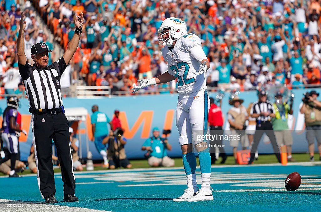 Wide receiver Brian Hartline #82 of the Miami Dolphins reacts after catching a first quarter touchdown pass against the Baltimore Ravens defends during a game at Sun Life Stadium on December 7, 2014 in Miami Gardens, Florida.