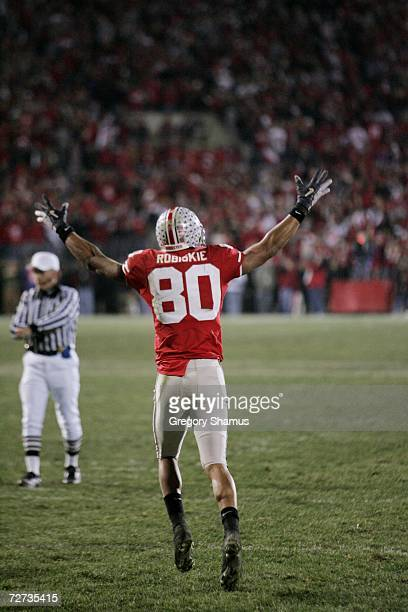 Wide receiver Brian Robiskie of the Ohio State Buckeyes celebrates against the Michigan Wolverines on November 18, 2006 at Ohio Stadium in Columbus,...