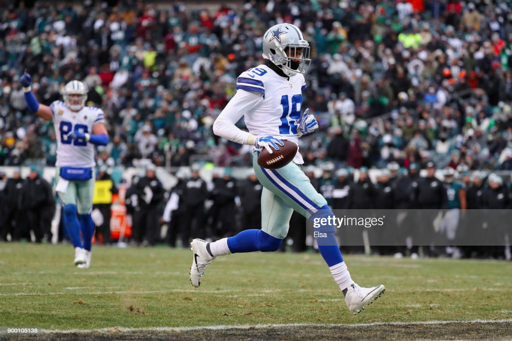 wide receiver Brice Butler #19 of the Dallas Cowboys scores a touchdown against the Philadelphia Eagles during the fourth quarter of the game at Lincoln Financial Field on December 31, 2017 in Philadelphia, Pennsylvania.