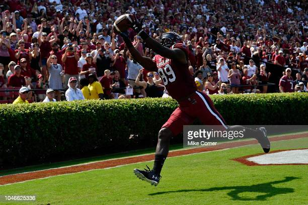 Wide receiver Bryan Edwards of the South Carolina Gamecocks makes a touchdown reception against the Missouri Tigers during the first quarter of the...