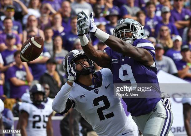 Wide receiver Byron Pringle of the Kansas State Wildcats can't hold on to the pass against defender Niko Small of the TCU Horned Frogs during the...