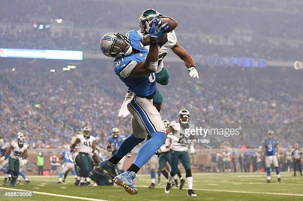 Wide receiver Calvin Johnson of the Detroit Lions catches a third quarter touchdown in front of cornerback Eric Rowe of the Philadelphia Eagles on...