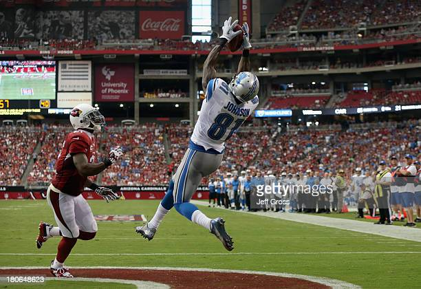Wide receiver Calvin Johnson of the Detroit Lions catches a touchdown pass in front of cornerback Patrick Peterson of the Arizona Cardinals in the...