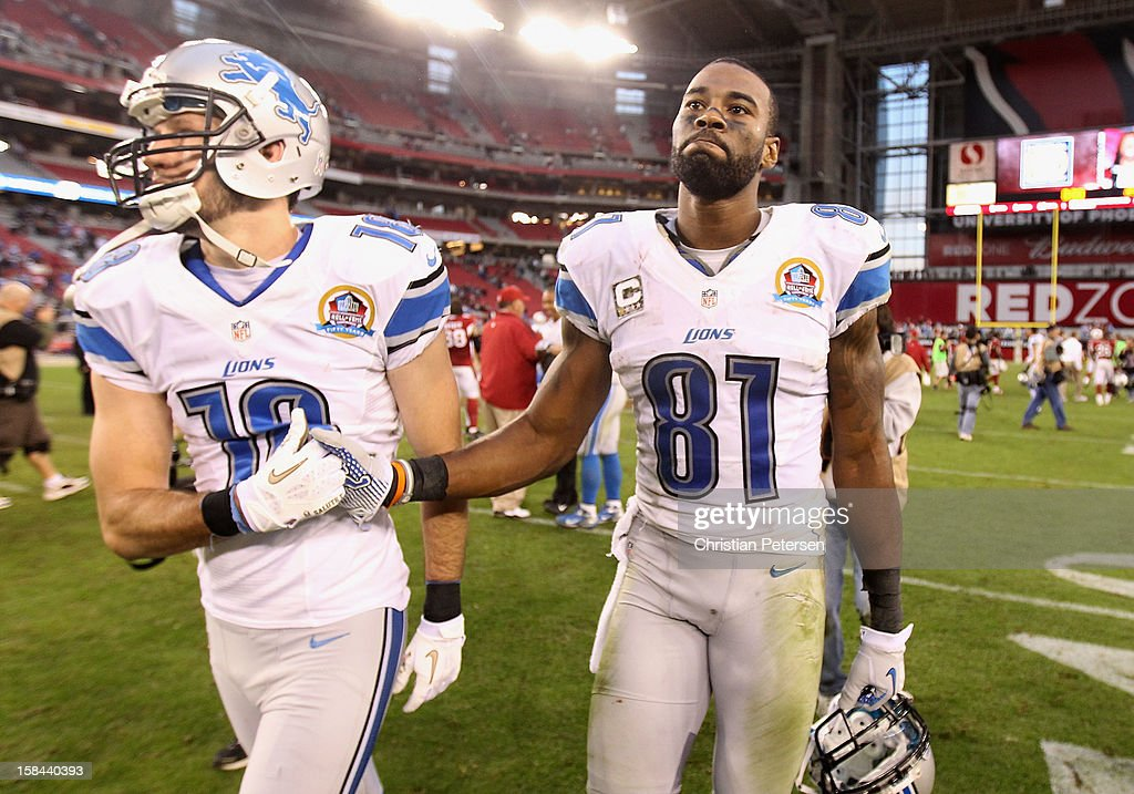 Wide receiver Calvin Johnson #81 of the Detroit Lions reacts as he walks off the field following the NFL game against the Arizona Cardinals at the University of Phoenix Stadium on December 16, 2012 in Glendale, Arizona. The Cardinals defeated the Lions 38-10.