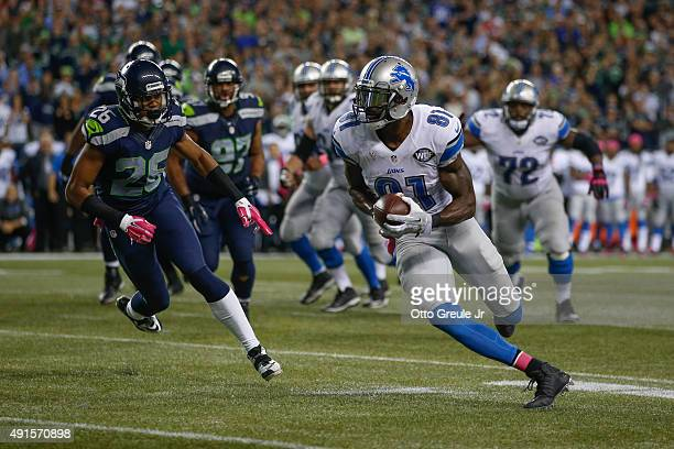 Wide receiver Calvin Johnson of the Detroit Lions rushes against the Seattle Seahawks in the fourth quarter at CenturyLink Field on October 5 2015 in...