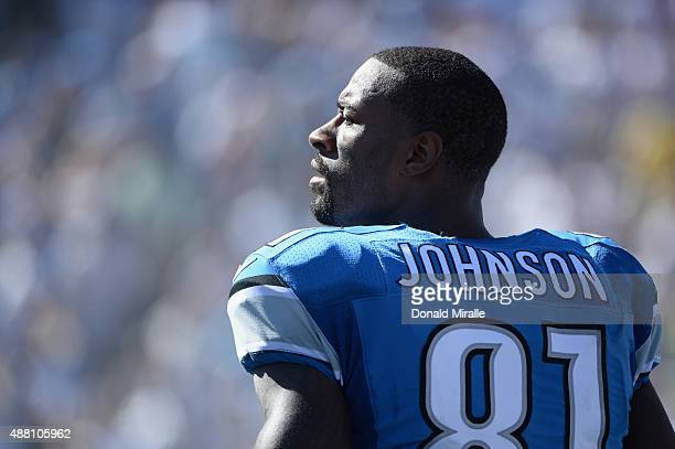 Wide receiver Calvin Johnson of the Detroit Lions stands on the sidelines while playing the San Diego Chargers at Qualcomm Stadium on September 13...