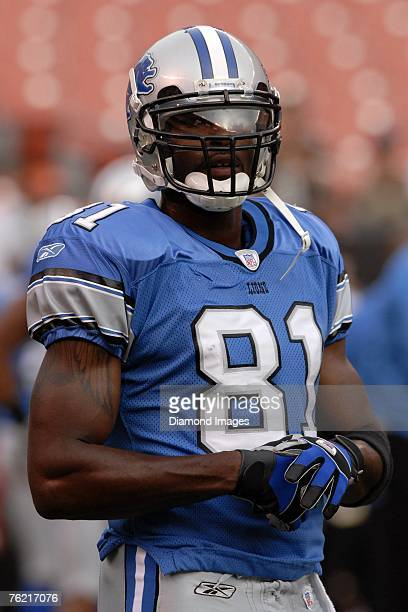 Wide receiver Calvin Johnson of the Detroit Lions warms up prior to the game versus the Cleveland Browns on August 18 2007 at Cleveland Browns...