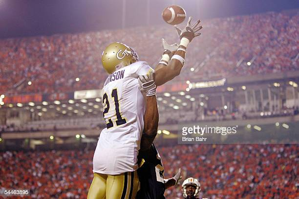 Wide receiver Calvin Johnson of the Georgia Tech Yellow Jackets fails to catch a pass in the end zone against defensive back Patrick Lee of the...