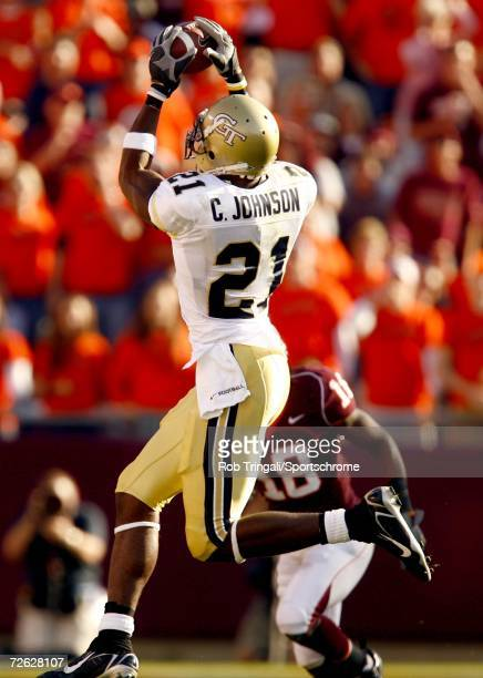 Wide Receiver Calvin Johnson of the Georgia Tech Yellow Jackets makes a catch against the Virgina Tech Hokies on September 30 2006 at Lane Stadium in...