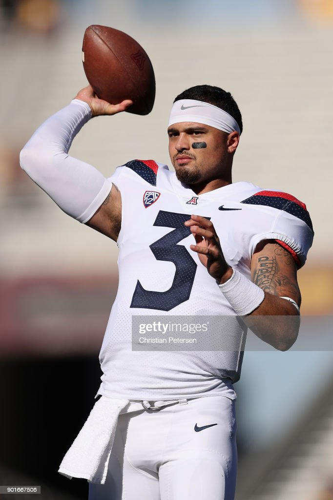 Wide receiver Cam Denson #3 of the Arizona Wildcats warms up before the college football game against the Arizona State Sun Devils at Sun Devil Stadium on November 25, 2017 in Tempe, Arizona.