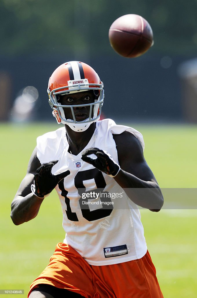 Wide receiver Carlton Mitchell #18 of the Cleveland Browns catches a pass during the team's organized team activity (OTA) on May 27, 2010 at the Cleveland Browns practice facility in Berea, Ohio.