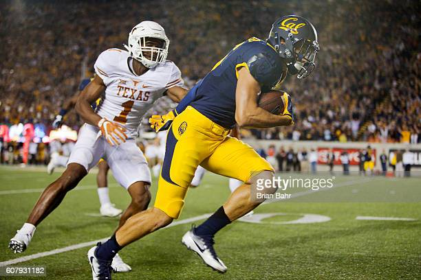 Wide receiver Chad Hansen of the California Golden Bears runs along the sideline with a 38yard reception to set up a touchdown against cornerback...
