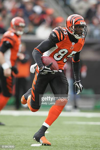 Wide receiver Chad Johnson of the Cincinnati Bengals carries the ball against the Cleveland Browns during the game at Paul Brown Stadium on November...