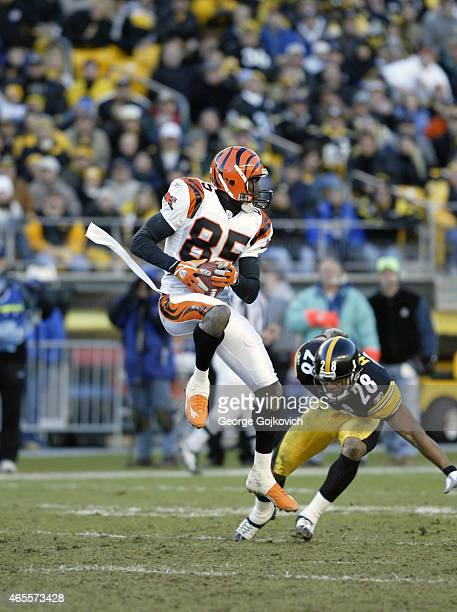 Wide receiver Chad Johnson of the Cincinnati Bengals catches a pass near defensive back Chris Hope of the Pittsburgh Steelers during a National...