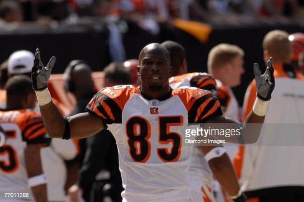 Wide receiver Chad Johnson of the Cincinnati Bengals gestures towards the fans during a game with the Cleveland Browns on September 16 2007 at...