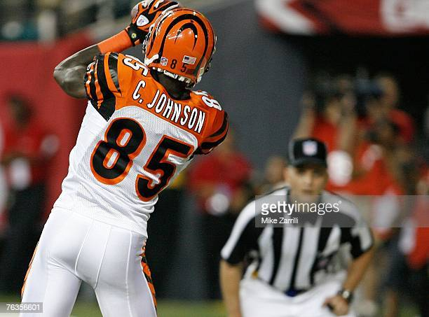 Wide receiver Chad Johnson of the Cincinnati Bengals hauls in a second quarter touchdown pass during the game against the Atlanta Falcons on August...