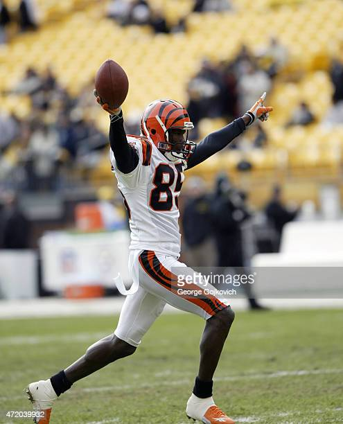 Wide receiver Chad Johnson of the Cincinnati Bengals holds the football after catching a pass during pregame warmup before a National Football League...