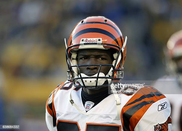 Wide receiver Chad Johnson of the Cincinnati Bengals looks on from the sideline during a game against the Pittsburgh Steelers at Heinz Field on...