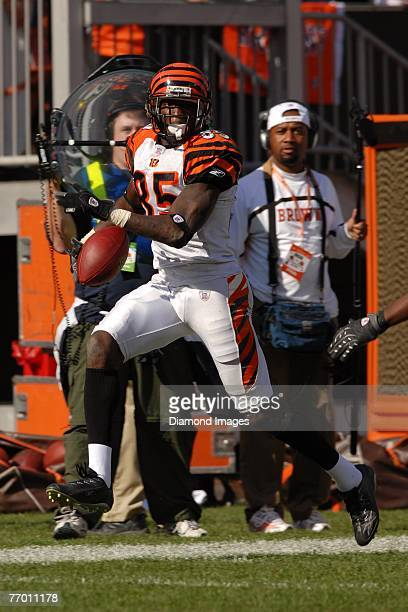 Wide receiver Chad Johnson of the Cincinnati Bengals runs down the sidleines after catching a pass during a game with the Cleveland Browns on...