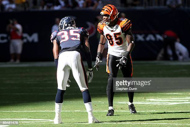 Wide receiver Chad Johnson of the Cincinnati Bengals sets on the line of scrimmage across from Jacques Reeves of the Houston Texans on October 26...