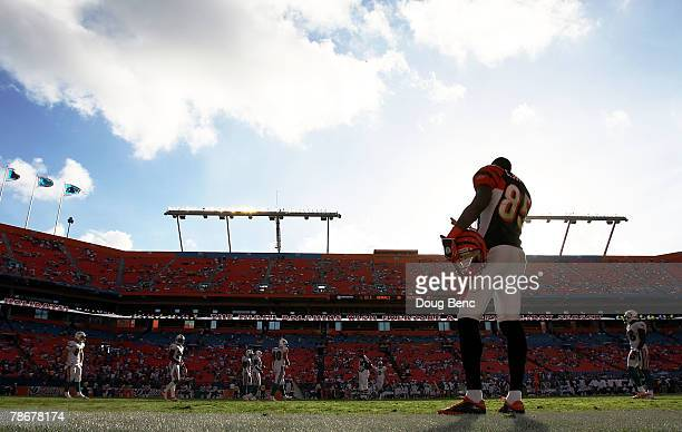 Wide receiver Chad Johnson of the Cincinnati Bengals talks to Dolphin players from the sidelines late in the game against the Miami Dolphins at...