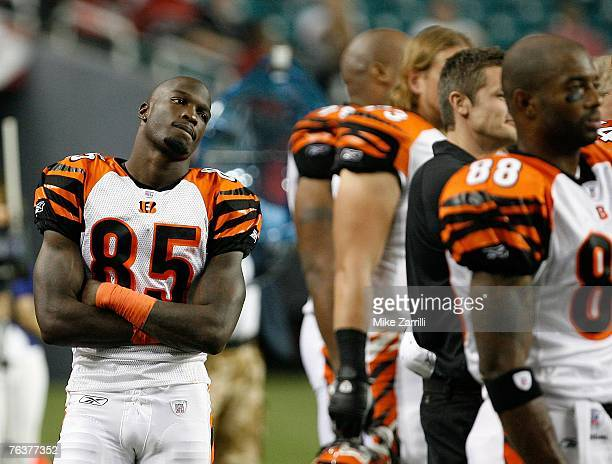 Wide receiver Chad Johnson of the Cincinnati Bengals watches the action on the stadium video screen during the game against the Atlanta Falcons on...