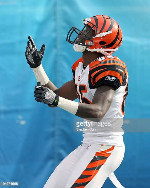 Wide receiver Chad Ochocinco of the Cincinnati Bengals reacts in the end zone after making a 49 yard touchdown catch against the San Diego Chargers...